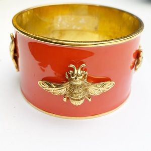 Monet Cuff Bracelet Red Gold Bee Costume Vintage